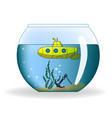 cartoon submarine in round aquarium vector image