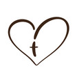 christian logo heart with cross on a white vector image vector image