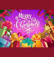 christmas gifts xmas tree and poinsettia with bow vector image vector image