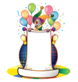 clown on ball vector image vector image