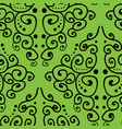 damask inspired hand drawn line art on green vector image