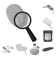 detective agency monochrome icons in set vector image vector image