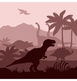 Dinosaurs silhouettes layers background banner vector image