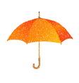 Dotted orange umbrella Engraving vector image