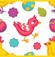 eggs and birds chicken and flowers easter seamless vector image