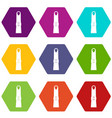 finger icon set color hexahedron vector image