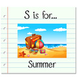 Flashcard letter S is for summer vector image vector image