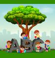 kids reading books in park vector image