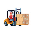 loader with boxes worker carrying box vector image
