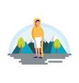 man practicing skateboarding in the landscape vector image vector image
