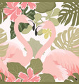pink flamingo birds couple with exotic tropical vector image vector image