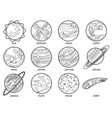 planets for color book solar system earth sun vector image vector image