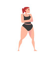 plus size woman in black underwear triangle vector image vector image