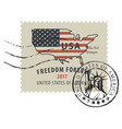 postage stamp with american flag in form us map vector image vector image