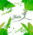 Postcard with the words Hello on green watercolor vector image vector image