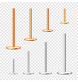 realistic metal poles collection isolated on vector image