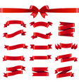 red ribbon and bow white background vector image vector image