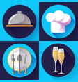 restaurant icons set cooking and kitchen vector image