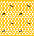 seamless pattern of honeycombs and bees vector image