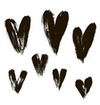 set of hearts ink brush vector image