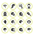 Set round icons of helmets and masks vector image vector image