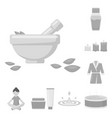 spa salon and equipment monochrome icons in set vector image vector image