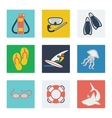 Summer vacation flat icons set vector image