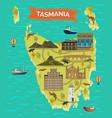 tasmania map or tassie island tas famous landmark vector image