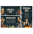 three poster to oktoberfest festival vintage vector image