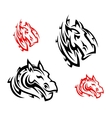 Tribal horses tattoos vector image
