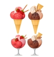 Two sorts of icercream strawberry and chocolate vector image