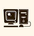 vintage computer in the style of flat vector image vector image