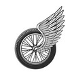 wheel with wing racing symbol or tattoo icon vector image vector image