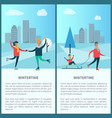 wintertime skaters and family vector image vector image