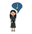 woman with smartphone and music note in speech vector image