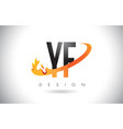 yf y f letter logo with fire flames design and vector image vector image
