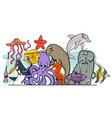 cartoon sea life animal characters group vector image