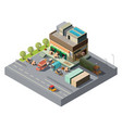 3d isometric warehouse trucks for shipping vector image