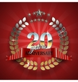 Anniversary 20th gold wreath with red ribbon vector image vector image