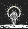 astronaut spaceman cards moon phases planets in vector image