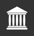 bank building icon in flat style museum on black vector image