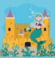 beautiful and magic mermaid vector image vector image