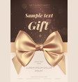 beautiful greeting card with golden bow on light vector image vector image