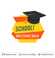black student graduating cap and welcoming text vector image