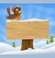 christmas robin sign background vector image vector image