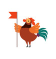 colorful rooster crowing farm cock cartoon vector image