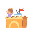 creative kid character playing castle made of vector image
