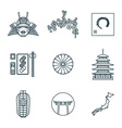 dark color outline various japanese icons set vector image vector image