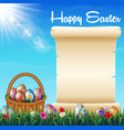 easter background with decorated easter eggs on th vector image vector image