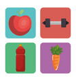 fitness and gym set icons vector image